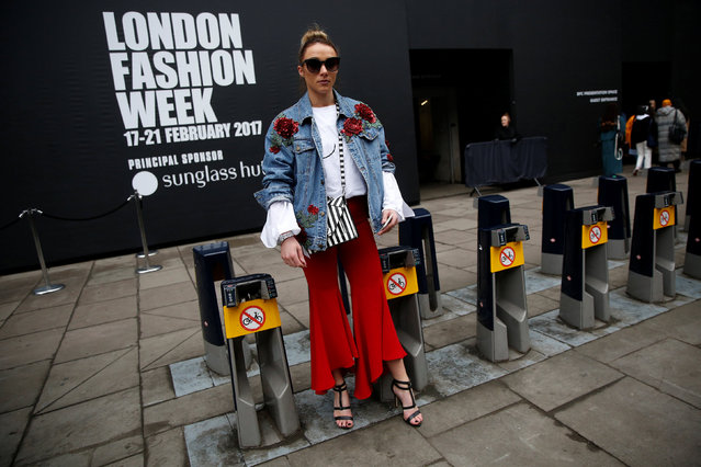 Stylist and blogger Jordan Kelsey poses for a portrait during London Fashion Week in London, Britain February 21, 2017. (Photo by Neil Hall/Reuters)