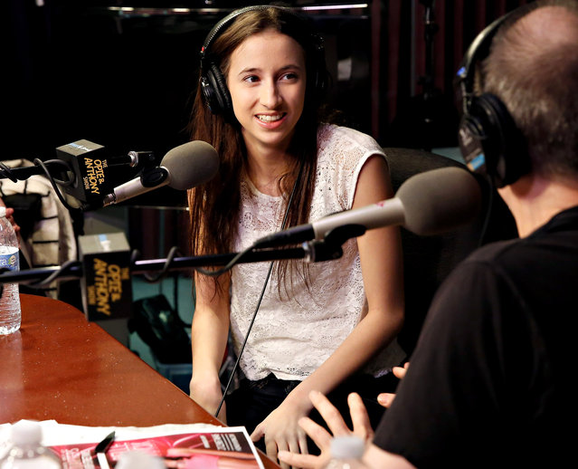 """Duke University student/ adult film star Belle Knox visits  """"The Opie & Anthony Show"""" at the SiriusXM Studios on March 18, 2014 in New York City. (Photo by Cindy Ord/Getty Images)"""