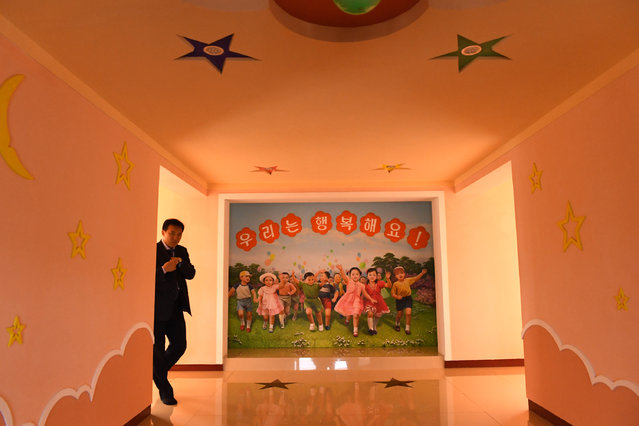Media tour of a day care / preschool center at Jangchon cooperative farm on the outskirts of  Pyongyang, North Korea on May 4, 2016. (Photo by Linda Davidson/The Washington Post)