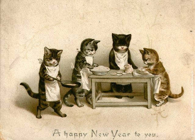 1880: Kittens cooking rat pie on a New Year's greetings card