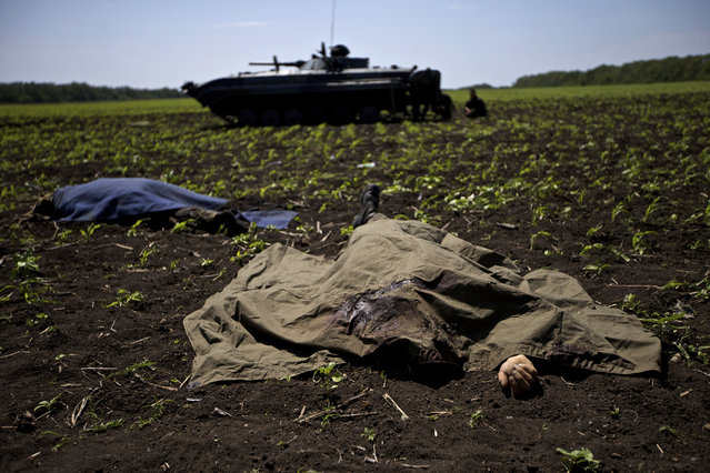 Bodies covered with blankets lie in a field near the village of Blahodatne, eastern Ukraine, on Thursday, May 22, 2014, as a Ukrainian soldier smokes next to his armored infantry vehicle. At least 11 Ukrainian troops were killed and about 30 others were wounded when Pro-Russians attacked a military checkpoint, the deadliest raid in the weeks of fighting in eastern Ukraine. Three charred Ukrainian armored infantry vehicles, their turrets blown away by powerful explosions, and several burned vehicles stood at the site of the combat. (Photo by Ivan Sekretarev/AP Photo)