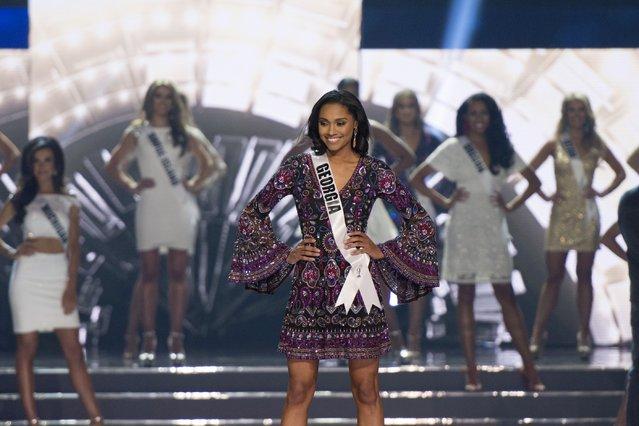 Miss Georgia Emanii Davis competes in the 2016 Miss USA pageant in Las Vegas, Sunday, June 5, 2016. (Photo by Jason Ogulnik/Las Vegas Review-Journal via AP Photo)