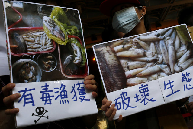 """Protesters hold a placard during a protest calling for Taiwanese largest industrial group Formosa Plastics to investigate and voluntarily disclose its own findings on strange fish deaths in Vietnam, in Taipei, Taiwan June 17, 2016. The sign (L) reads: """"Poisonous fish"""". (Photo by Tyrone Siu/Reuters)"""