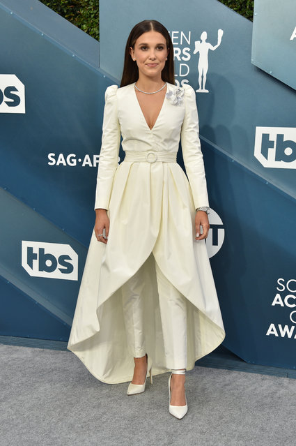 Millie Bobby Brown attends the 26th Annual Screen ActorsGuild Awards at The Shrine Auditorium on January 19, 2020 in Los Angeles, California. (Photo by Gregg DeGuire/Getty Images for Turner)