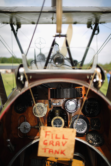 """The SE5a is displayed at """"The Shuttlesworth Collection"""" at Old Warden on July 21, 2014 in Biggleswade, England. Of the 55,000 planes that were manufactured by the Royal Army Corps (RAC) during WWI, only around 20 remain in airworthy condition. (Photo by Dan Kitwood/Getty Images)"""