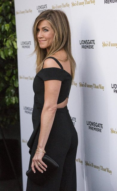 """Cast member Jennifer Aniston poses at the premiere of """"She's Funny That Way"""" in Los Angeles, California August 19, 2015. The movie opens in the U.S. on August 21. (Photo by Mario Anzuoni/Reuters)"""