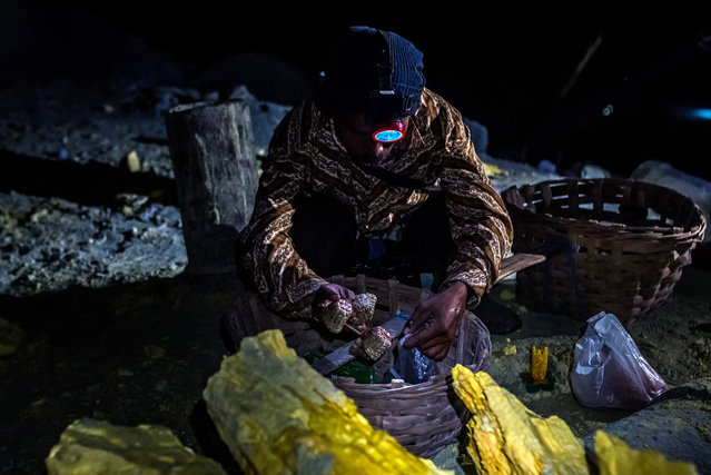 A miner is molding sulfur in turtle or other shapes to sell it to tourists in East Java, Indonesia on September 21, 2017. 150 miners are working in Ijen. Most of the souvenirs cost about 50'000 Rupiah (4 US Dollars). The crater produces 15 tons of fresh sulfur every day. (Photo by Claudio Sieber/Barcroft Images)