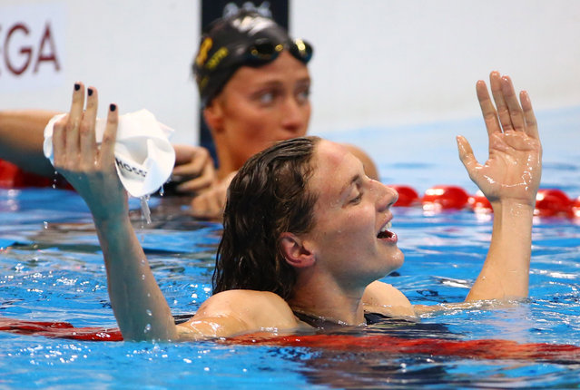 2016 Rio Olympics, Swimming, Final, Women's 400m Individual Medley Final, Olympic Aquatics Stadium, Rio de Janeiro, Brazil on August 6, 2016. Katinka Hosszu (HUN) of Hungary celebrates after winning. (Photo by David Gray/Reuters)