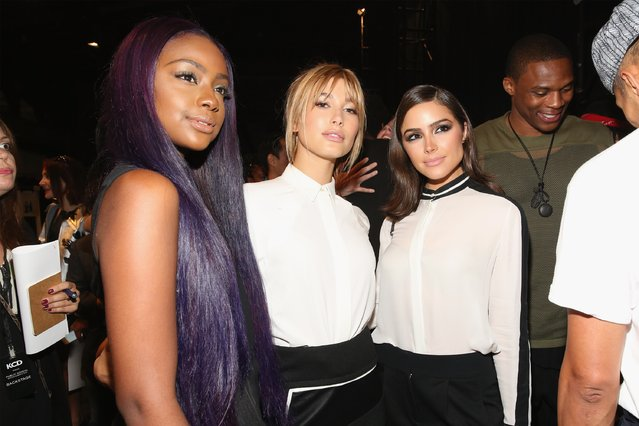 (L-R) Justine Skye, Haile Baldwin, Olivia Culpo and Russell Westbrook pose backstage after the Public School fashion show during Spring 2016 New York Fashion Week: The Shows at The Arc, Skylight at Moynihan Station on September 13, 2015 in New York City. (Photo by Mireya Acierto/Getty Images)
