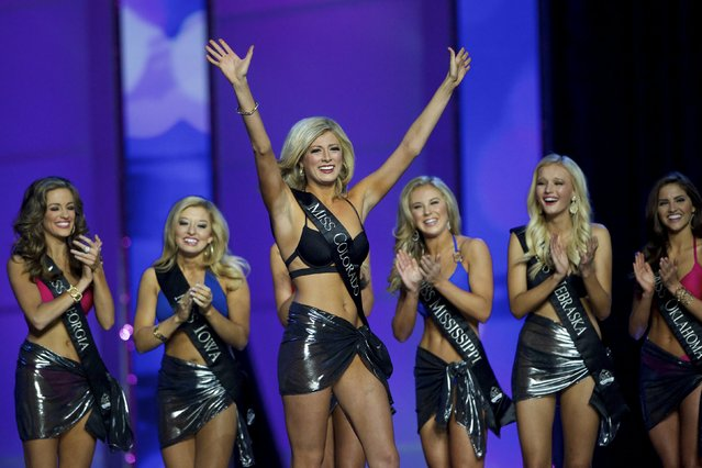 Miss Colorado Kelley Johnson reacts to advancing after the swimsuit portion of the Miss America Pageant at Boardwalk Hall, in Atlantic City, New Jersey, September 13, 2015. Miss Georgia Betty Cantrell won. (Photo by Mark Makela/Reuters)