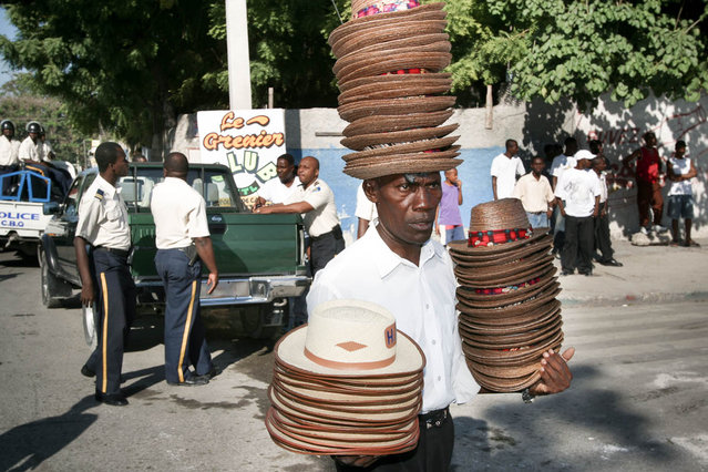 Port-au-Prince, Haiti. Hats seller on the Champ de Mars in November 2003. (Photo by Jean-Claude Coutausse)