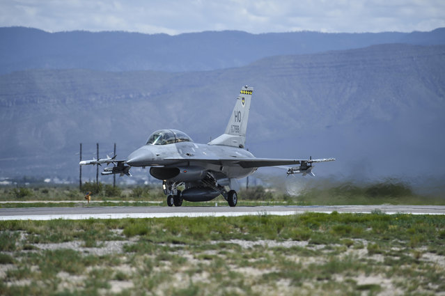 This photo taken August 17, 2017 and provided by the U.S. Air Force, shows an F-16 Fighting Falcon ready for take-off in preparation to perform a final joint flying mission at Holloman Air Force Base in Alamogordo, N.M.  Holloman Air Force Base officials say their current array of flight training areas in southern New Mexico is outdated and that some need to be expanded, reshaped and relocated. (Photo by Stacy Jonsgaard/U.S. Air Force via AP Photo)