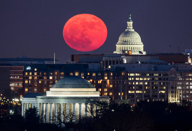 "A so-called ""supermoon"" rises behind the US Capitol (R) and the Jefferson Memorial (bottom), in Washington, DC, viewed from Arlington, Virginia, USA, 03 December 2017. (Photo by Jim Lo Scalzo/EPA/EFE)"