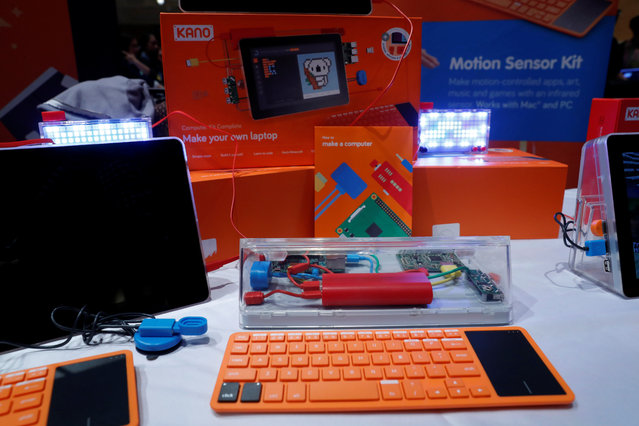 Kano build-it-yourself laptop kits, ages six and older, are displayed during Pepcom's Digital Experience in Las Vegas, Nevada, U.S. January 9, 2018. (Photo by Steve Marcus/Reuters)
