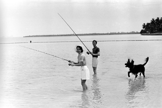 David Eisenhower, grandson of former U.S. President Dwight D. Eisenhower, and his wife Julie Nixon Eisenhower, daughter of the current President Richard M. Nixon, enjoy time off while fishing at Biscayne Bay, Fla., on May 25, 1971. With them is the president's pet irish setter King Timahoe. (Photo by AP Photo)