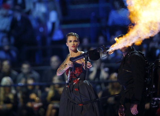 Ruby Rose releases fire at the start of the start of the MTV European Music Awards in Milan, Italy, Sunday, October 25, 2015. (Photo by Luca Bruno/AP Photo)