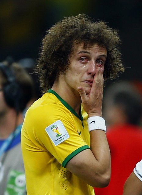 Brazil's David Luiz cries after his team lost to Germany in their 2014 World Cup semi-final at the Mineirao stadium in Belo Horizonte, in this July 8, 2014 file photo. (Photo by Eddie Keogh/Reuters)