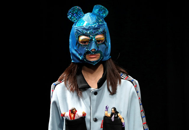 A model presents a creation of YUKIHERO PRO-WRESTLING by designer Yukihiro Teshima from his Autumn/Winter 2018 collection during Fashion Week Tokyo in Tokyo, Japan March 20, 2018. (Photo by Issei Kato/Reuters)