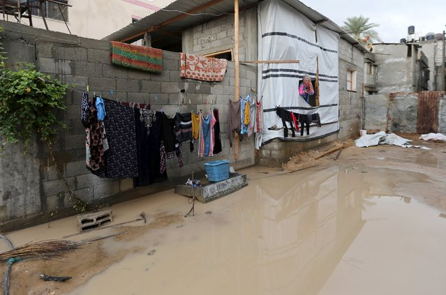 A Palestinian woman looks out from her house at a street flooded by rain water in Khan Younis in the southern Gaza Strip, November 9, 2015. (Photo by Ibraheem Abu Mustafa/Reuters)