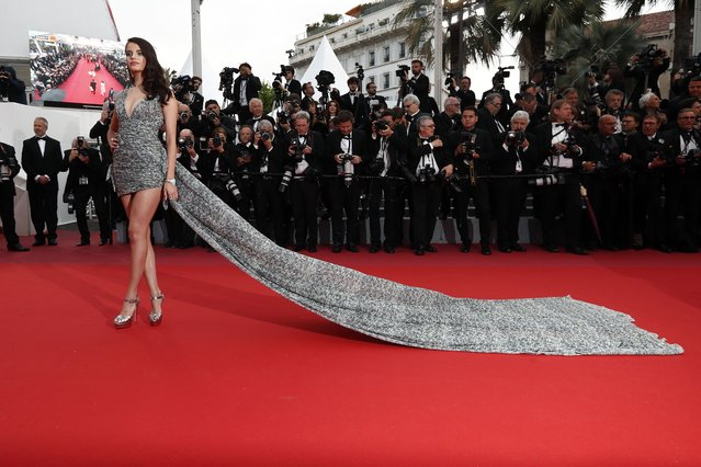 """French model Sonia Ben Ammar arrives for the screening of the film """"BlacKkKlansman"""" at the 71st Cannes Film Festival in Cannes, France on May 14, 2018. (Photo by Ian Langsdon/EPA/EFE/Rex Features/Shutterstock)"""