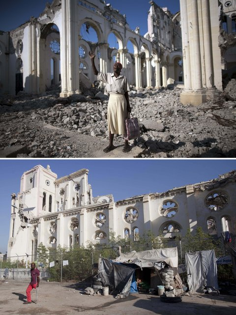 This combo of two photos shows a January 12, 2010 file photo, top, of Marie La Jesula Joseph praying outside the Cathedral the day it was destroyed by a 7.0 earthquake that struck Port-au-Prince, Haiti, and a photo taken five years later on January 10, 2105. (Photo by Rodrigo Abd/Dieu Nalio Chery/AP Photo)