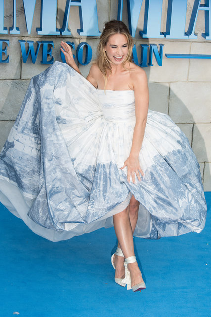 """Lily James attends the UK Premiere of """"Mamma Mia! Here We Go Again"""" at Eventim Apollo on July 16, 2018 in London, England. (Photo by Jeff Spicer/Getty Images)"""