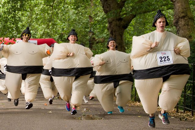 Participants take part in The Sumo Run in Battesea Park, west London, on July 29, 2013. The Sumo Run is an annual 5km charity fun run around the park in inflatable Sumo Suits. (Photo by Leon Neal/AFP Photo)
