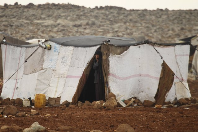 An internally displaced Syrian woman looks out of her tent inside a refugee camp in the Hama countryside, Syria January 1, 2016. (Photo by Ammar Abdullah/Reuters)