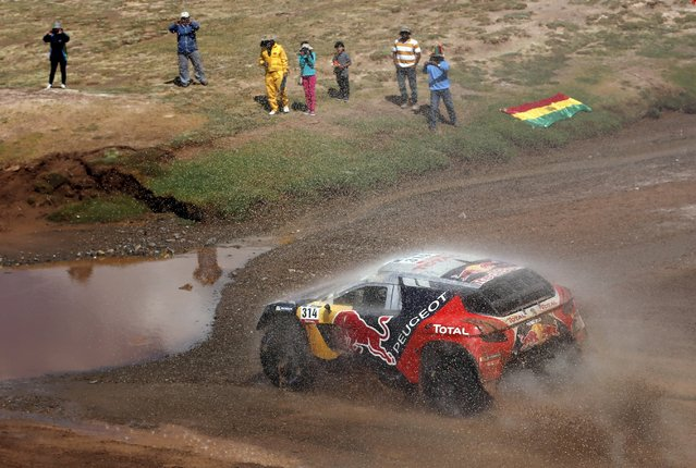 Sebastien Loeb of France drives his Peugeot during the seventh stage in the Dakar Rally 2016 near Uyuni, Bolivia, January 9, 2016. (Photo by Marcos Brindicci/Reuters)