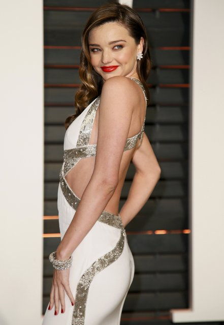 Model Miranda Kerr arrives at the 2015 Vanity Fair Oscar Party in Beverly Hills, California February 22, 2015. (Photo by Danny Moloshok/Reuters)