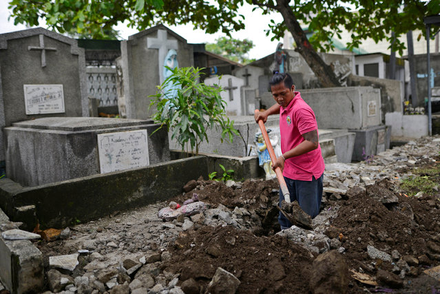 """Sandro Gabriel Jr, 34, grave digger at Pasay Public Cemetery, digs a grave in Pasay city, Metro Manila , Philippines September 29, 2016. """"A lot of people who have been shot have been buried here. More than 40 people have recently been buried here"""", he said. """"...I am not saying Duterte should keep killing people. But for us, we will keep working as long as there is work"""". Philippine President Rodrigo Duterte completes six months in charge on December 30, with the rising death toll from his war on drugs showing no sign of easing. More than 6,000 people have been killed in the anti-narcotics drive since he took power, about a third in police operations with the rest still being investigated. Many are believed to be vigilante murders, which Duterte has refused to condemn. The former crime-busting mayor of the southern city of Davao had said that the war on drugs would be over within six months but has since pushed back the deadline. Last month he said that he will continue """"until the last pusher drops dead"""". On the streets of Manila, residents from a variety of professions gave their thoughts. (Photo by Ezra Acayan/Reuters)"""