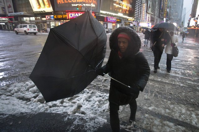 A woman struggles with her umbrella in Times Square during a winter storm in the early morning hours in the Manhattan borough of New York February 2, 2015. (Photo by Carlo Allegri/Reuters)