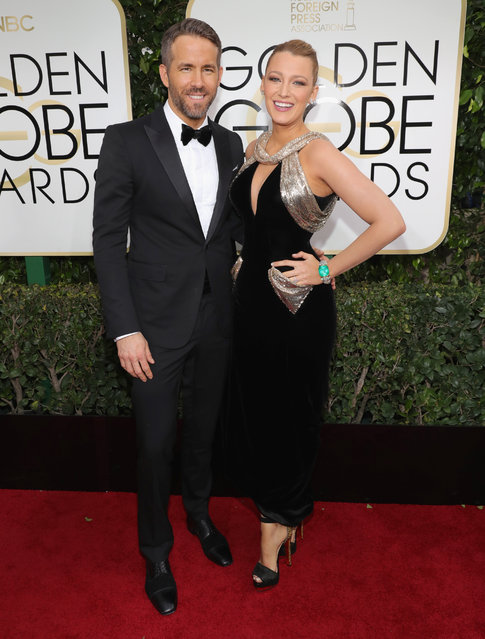 Actor Ryan Reynolds and actress Blake Lively arrive to the 74th Annual Golden Globe Awards held at the Beverly Hilton Hotel on January 8, 2017. (Photo by Neilson Barnard/NBCUniversal/NBCU Photo Bank via Getty Images)
