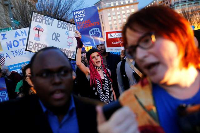 Transgender activists and supporters protest potential changes by the Trump administration in federal guidelines issued to public schools in defense of transgender student rights, near the White House in Washington, U.S. February 22, 2017. (Photo by Jonathan Ernst/Reuters)