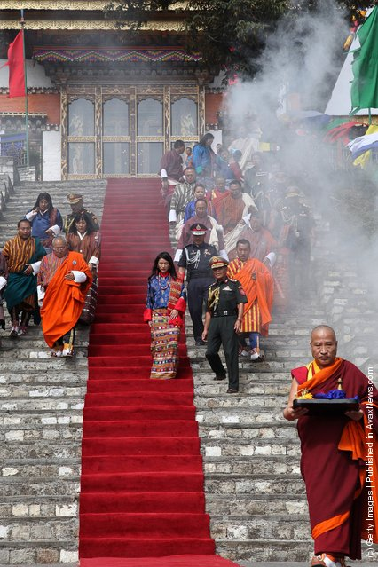 Royal Bride Jetsun Pema is welcomed to a traditional Chipdrel in Wangduephodrang