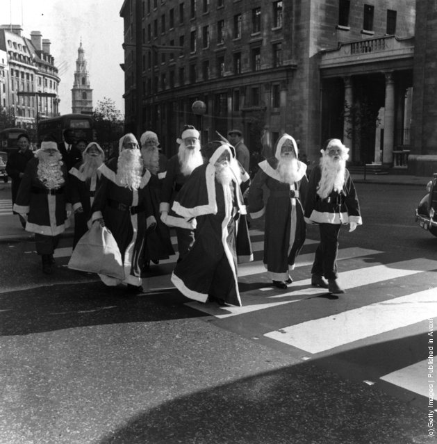 1959: The Father Christmasses are marching across the street