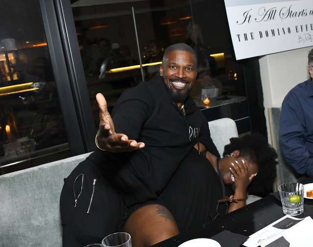 Jamie Foxx and Deirdre Dickson at The Domino Effect Pre-Awards Dinnner Benefiting Hurricane Dorian Relief Efforts In The Bahamas at Alice's Inside 1 Hotel on September 19, 2019 in West Hollywood, California. (Photo by Araya Diaz/Getty Images)