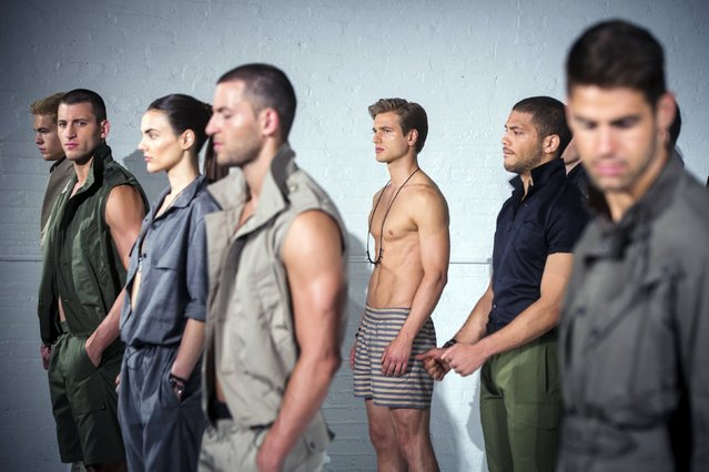 Models stand on stage for the Cadet presentation during Men's Fashion Week, in New York, July 13, 2015. (Photo by Lucas Jackson/Reuters)