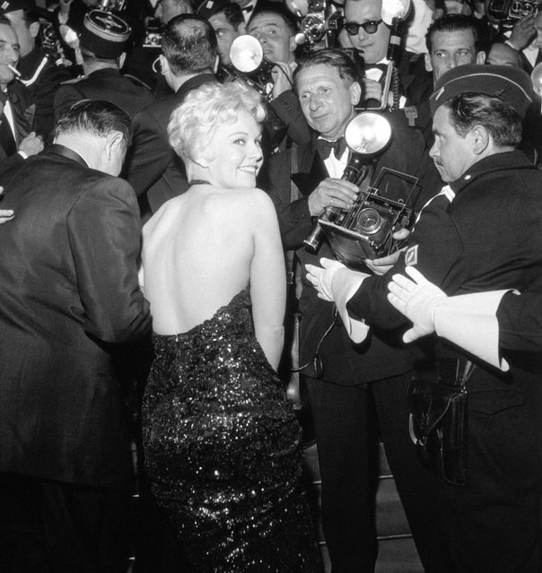 Actress Kim Novak poses for photographers at the Cannes Film Festival, April 24, 1956, in Cannes, France. (Photo by RDA/Archive Photos/Getty Images)