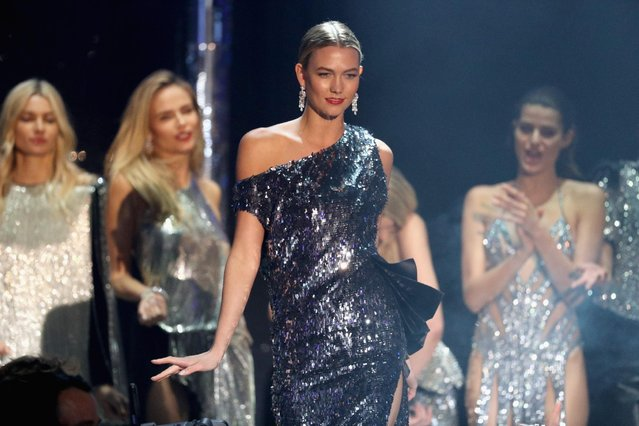 Karlie Kloss appears on stage at the amfAR's 23rd Cinema Against AIDS Gala at Hotel du Cap-Eden-Roc on May 19, 2016 in Cap d'Antibes, France. (Photo by Andreas Rentz/Getty Images)