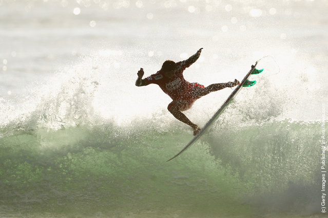 Miguel Pupo of Brazil competes in the Round of 96 during the 2012 Australian Surfing Open