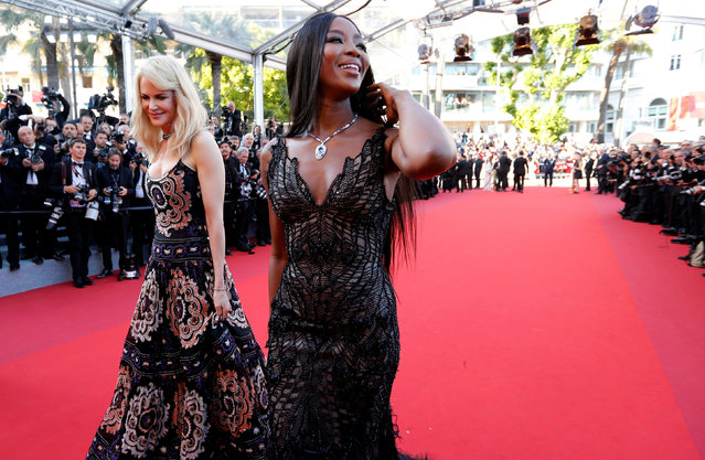 Actress Nicole Kidman (L) and model Naomi Campbell (R) attend the 70th Anniversary screening during the 70th annual Cannes Film Festival at Palais des Festivals on May 23, 2017 in Cannes, France. (Photo by Regis Duvignau/Reuters)