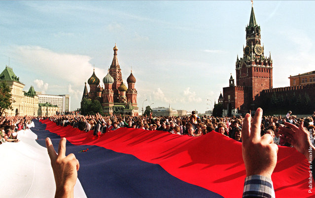 Celebrations in Moscow after the failure of the coup attempt, and remembrances of those killed in the violence, in August of 1991