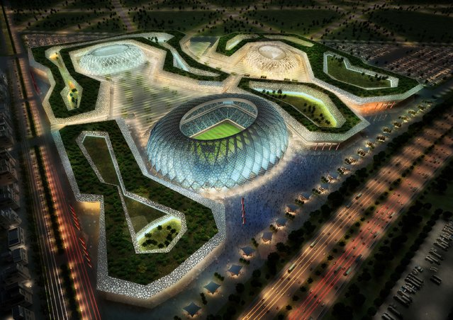 In this handout image supplied by Qatar 2022  The Al-Wakrah stadium complex is pictured in this artists impression as Qatar 2022 World Cup bid unveils it's stadiums on September 16, 2010 in Doha, Qatar. (Photo by Qatar 2022 via Getty Images)