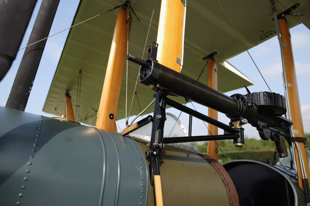 """A detail shot of a Be2 at """"The Shuttlesworth Collection"""" at Old Warden on July 21, 2014 in Biggleswade, England. Of the 55,000 planes that were manufactured by the Royal Army Corps (RAC) during WWI, only around 20 remain in airworthy condition. (Photo by Dan Kitwood/Getty Images)"""