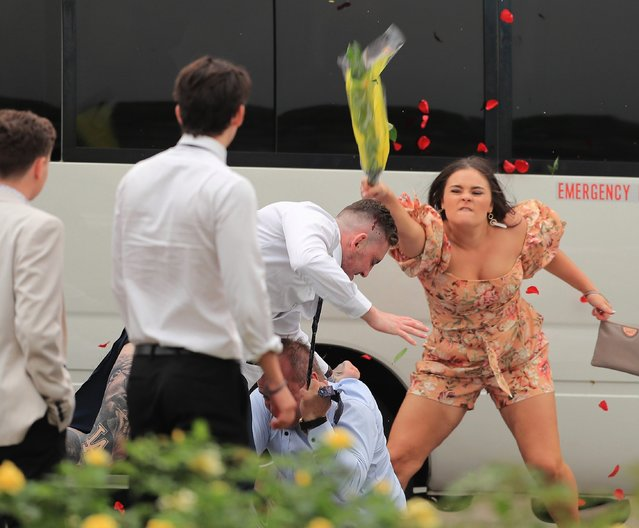A large brawl breaks out as people leave the track after Sydney Racing at Rosehill Gardens on December 07, 2019 in Sydney, Australia. (Photo by Mark Evans/Getty Images)