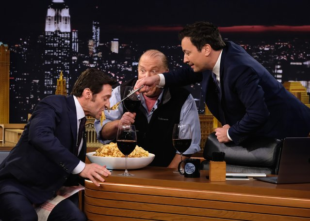 "Hugh Jackman, Mario Batali and Jimmy Fallon during a taping of ""The Tonight Show Starring Jimmy Fallon"" at Rockefeller Center on February 24, 2017 in New York City. (Photo by Theo Wargo/Getty Images for NBC)"