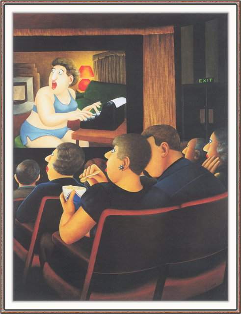 At the Cinema. Artwork by Beryl Cook