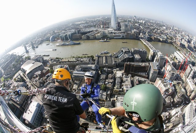 Rupert Atlkin, CEO of Talbot Undeerwriting abseils down the Walkie-Talkie during the Outward Bound Trust's and the Royal Navy and Royal Marines Charity's most daring stunt: The City Three Peaks Challenge on September 7, 2015 in London, England. (Photo by John Phillips/Getty Images for the Outward Bound Trust and the Royal Navy and Royal Marines Charity)