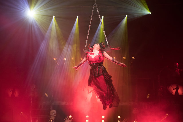 Asia Sawicka as Anastasia IV takes part in a rehearsal of the Circus of Horrors' latest show Voodoo, ahead of Halloween, at the Wookey Hole Caves Theatre near Wells on October 19, 2017 in Somerset, England. (Photo by Matt Cardy/Getty Images)